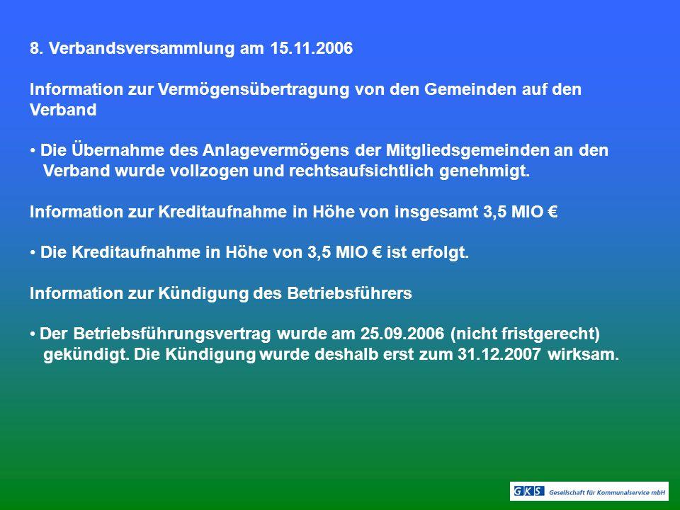 8. Verbandsversammlung am 15.11.2006 Information zur Vermögensübertragung von den Gemeinden auf den Verband Die Übernahme des Anlagevermögens der Mitg