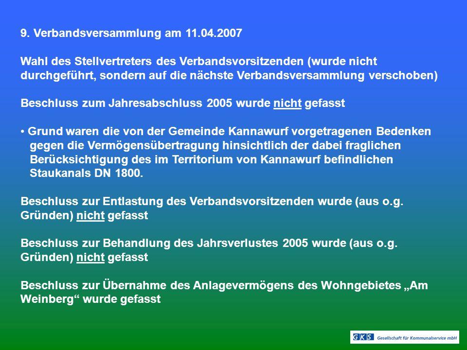 9. Verbandsversammlung am 11.04.2007 Wahl des Stellvertreters des Verbandsvorsitzenden (wurde nicht durchgeführt, sondern auf die nächste Verbandsvers