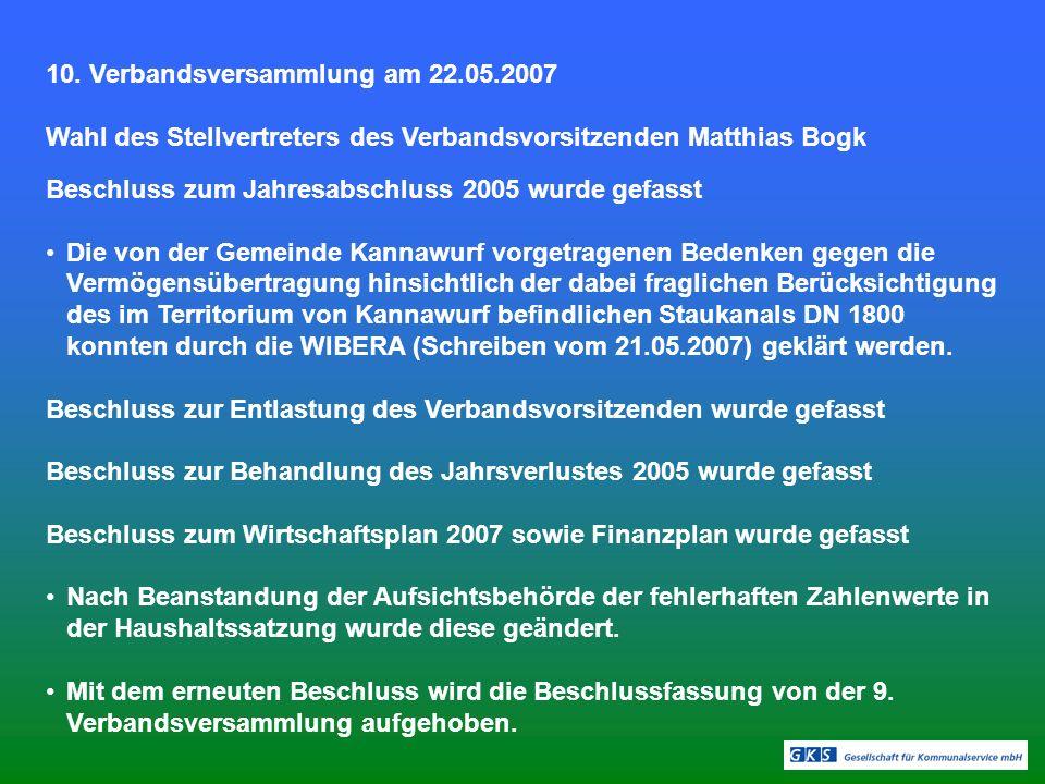 10. Verbandsversammlung am 22.05.2007 Wahl des Stellvertreters des Verbandsvorsitzenden Matthias Bogk Beschluss zum Jahresabschluss 2005 wurde gefasst