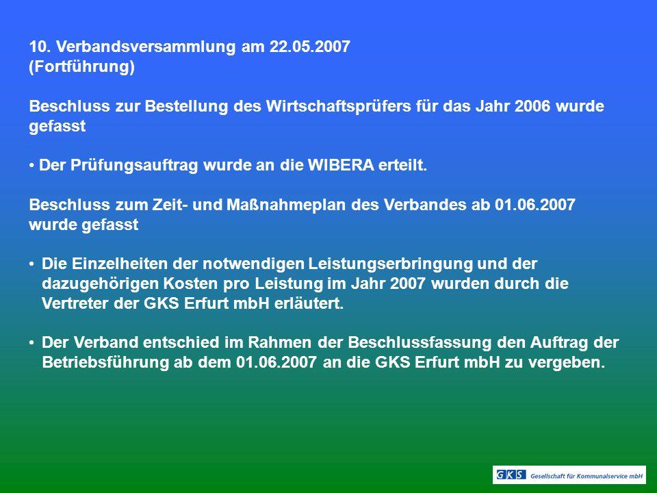 10. Verbandsversammlung am 22.05.2007 (Fortführung) Beschluss zur Bestellung des Wirtschaftsprüfers für das Jahr 2006 wurde gefasst Der Prüfungsauftra