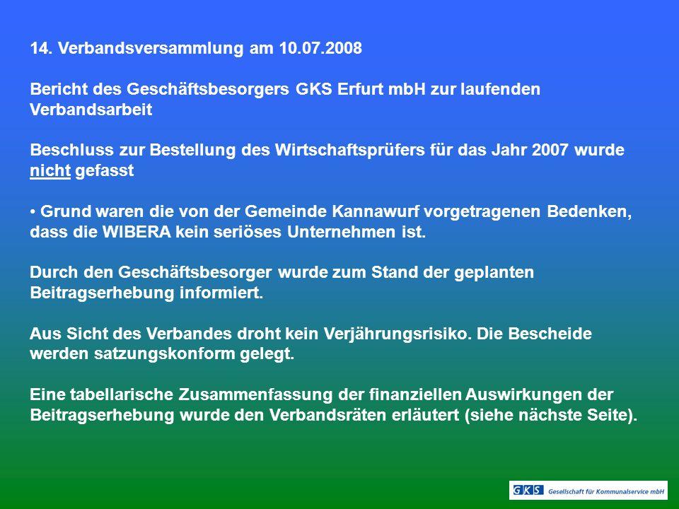 14. Verbandsversammlung am 10.07.2008 Bericht des Geschäftsbesorgers GKS Erfurt mbH zur laufenden Verbandsarbeit Beschluss zur Bestellung des Wirtscha
