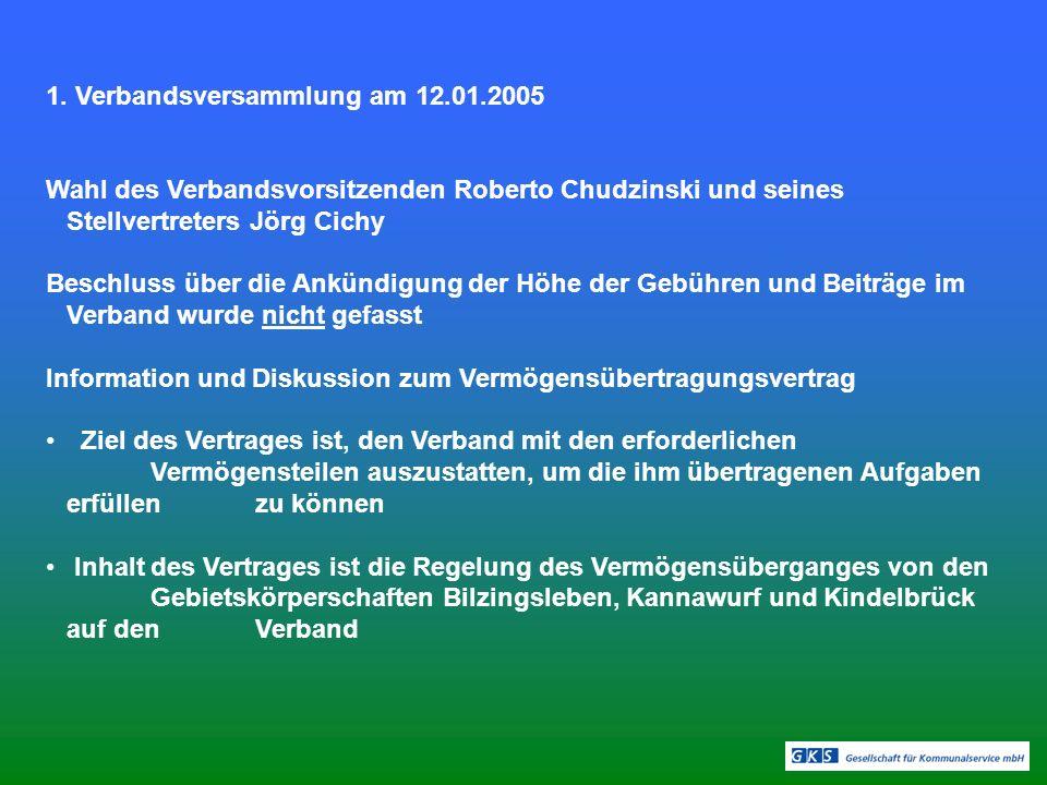 1. Verbandsversammlung am 12.01.2005 Wahl des Verbandsvorsitzenden Roberto Chudzinski und seines Stellvertreters Jörg Cichy Beschluss über die Ankündi