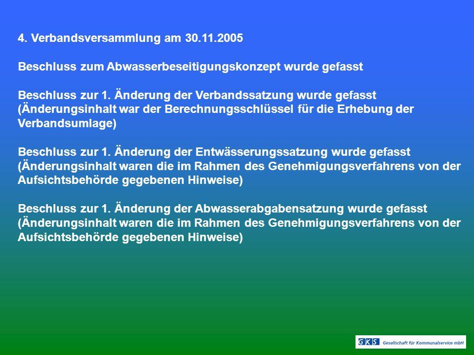 4. Verbandsversammlung am 30.11.2005 Beschluss zum Abwasserbeseitigungskonzept wurde gefasst Beschluss zur 1. Änderung der Verbandssatzung wurde gefas