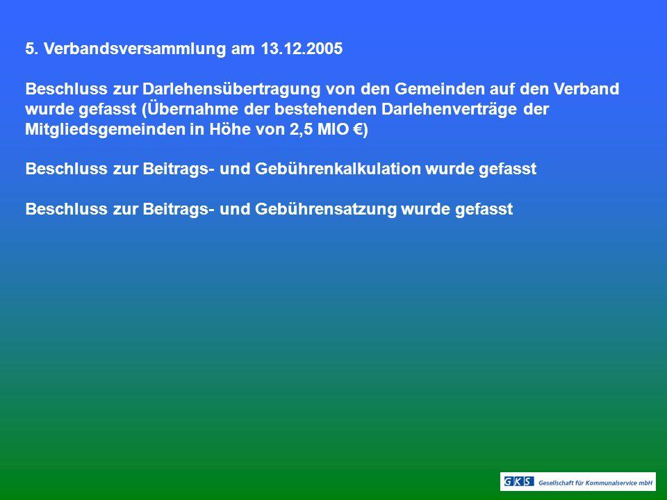 5. Verbandsversammlung am 13.12.2005 Beschluss zur Darlehensübertragung von den Gemeinden auf den Verband wurde gefasst (Übernahme der bestehenden Dar