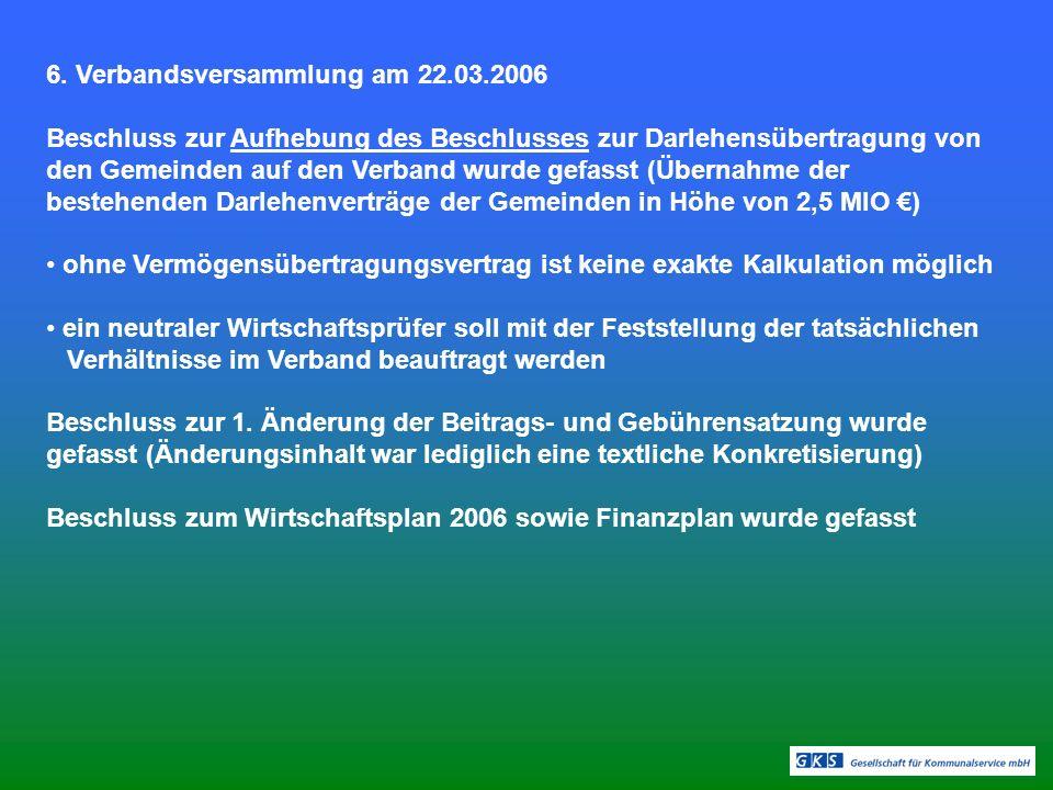 6. Verbandsversammlung am 22.03.2006 Beschluss zur Aufhebung des Beschlusses zur Darlehensübertragung von den Gemeinden auf den Verband wurde gefasst
