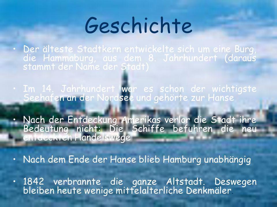 Geschichte Der älteste Stadtkern entwickelte sich um eine Burg, die Hammaburg, aus dem 8.