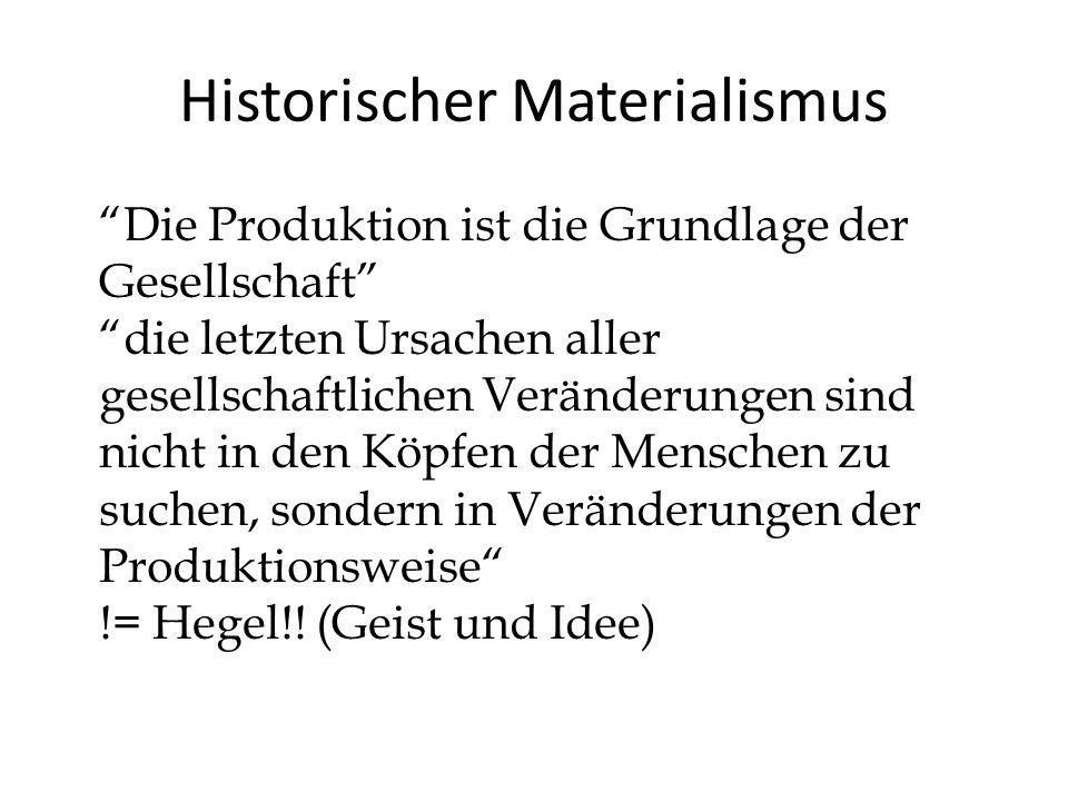 Historischer Materialismus Die Produktion ist die Grundlage der Gesellschaft die letzten Ursachen aller gesellschaftlichen Veränderungen sind nicht in