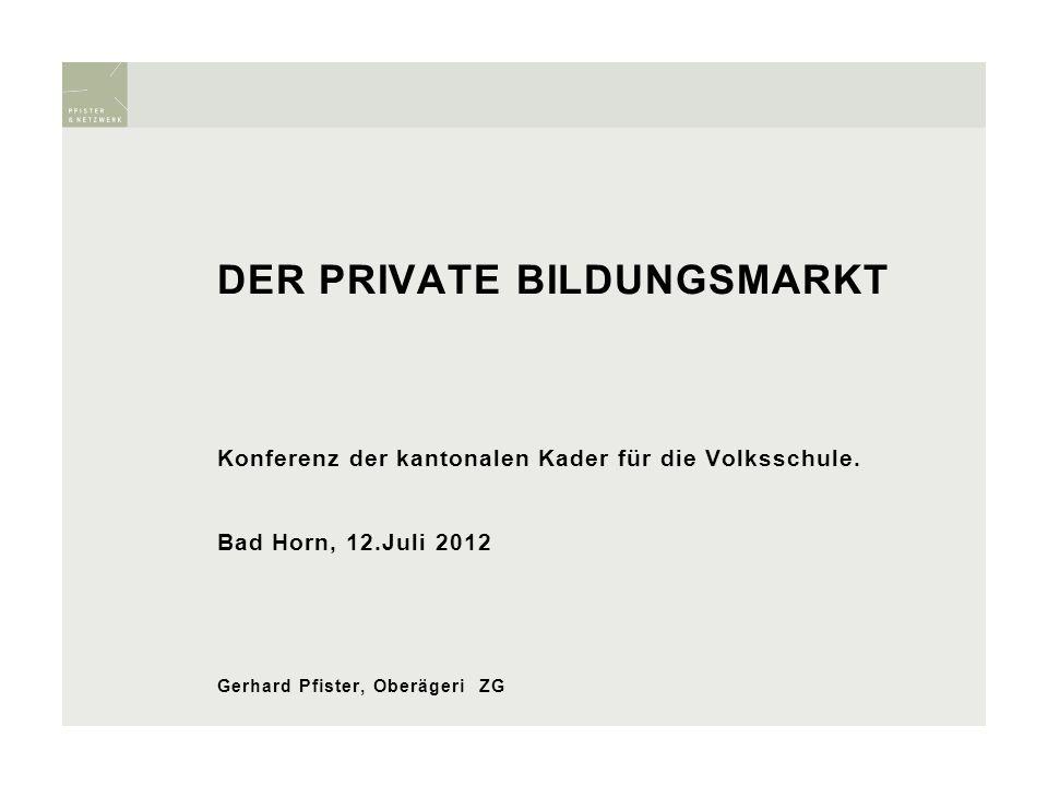 DER PRIVATE BILDUNGSMARKT Konferenz der kantonalen Kader für die Volksschule. Bad Horn, 12.Juli 2012 Gerhard Pfister, Oberägeri ZG