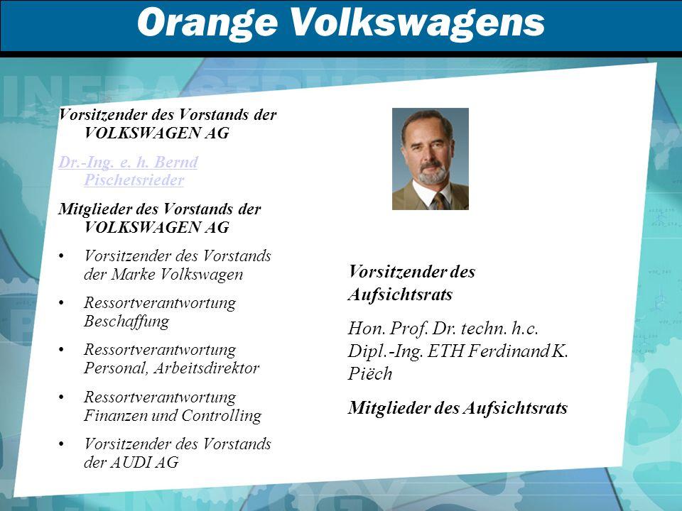 Orange Volkswagens Vorsitzender des Vorstands der VOLKSWAGEN AG Dr.-Ing.