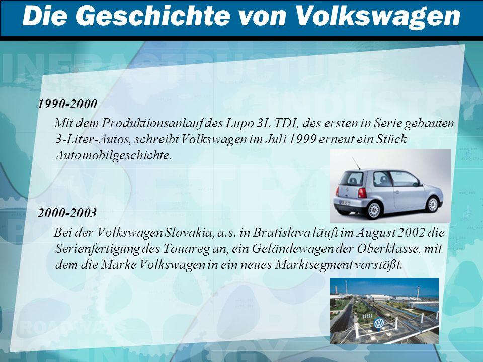 Die Geschichte von Volkswagen 1990-2000 Mit dem Produktionsanlauf des Lupo 3L TDI, des ersten in Serie gebauten 3-Liter-Autos, schreibt Volkswagen im Juli 1999 erneut ein Stück Automobilgeschichte.