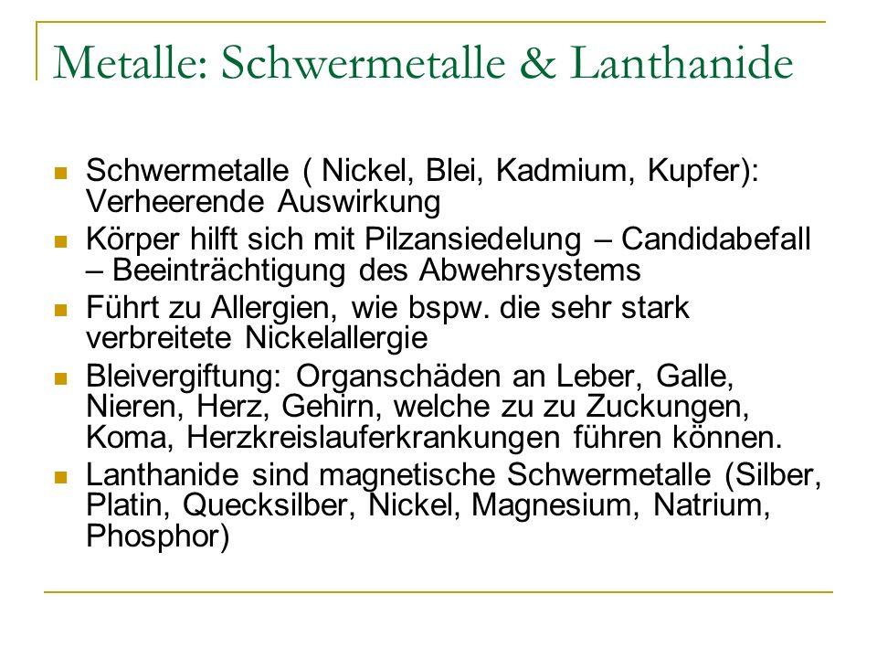 Metalle: Schwermetalle & Lanthanide Schwermetalle ( Nickel, Blei, Kadmium, Kupfer): Verheerende Auswirkung Körper hilft sich mit Pilzansiedelung – Can