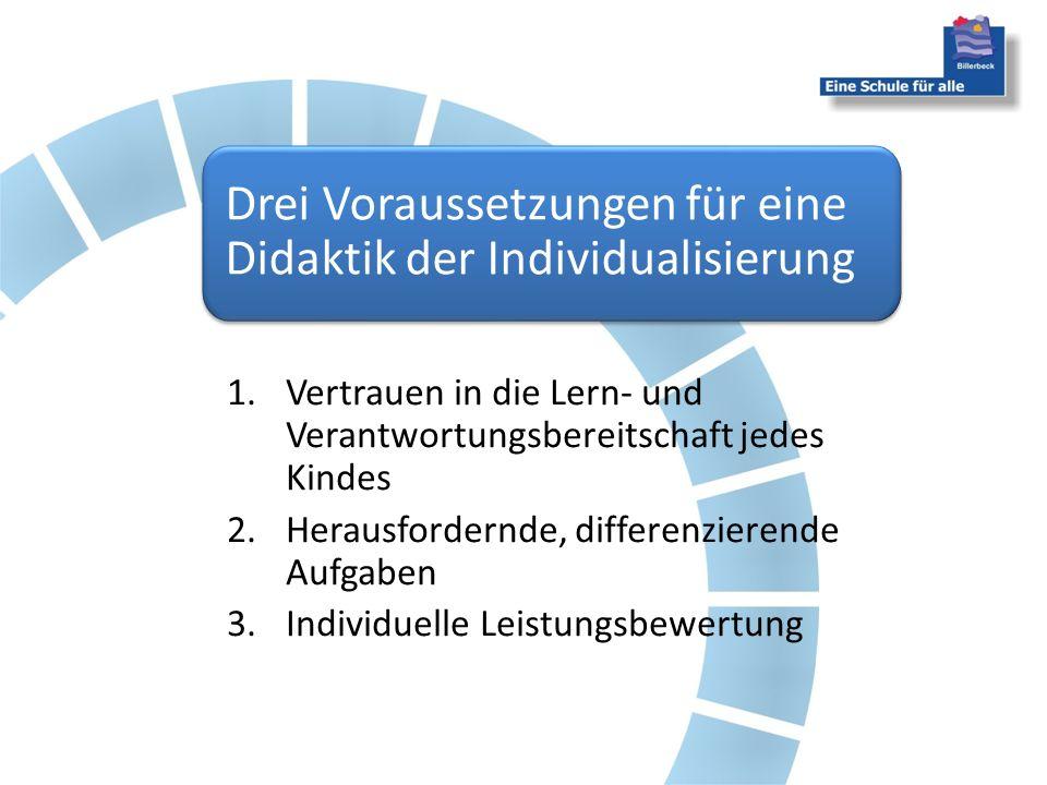 Drei Voraussetzungen für eine Didaktik der Individualisierung 1.Vertrauen in die Lern- und Verantwortungsbereitschaft jedes Kindes 2.Herausfordernde,