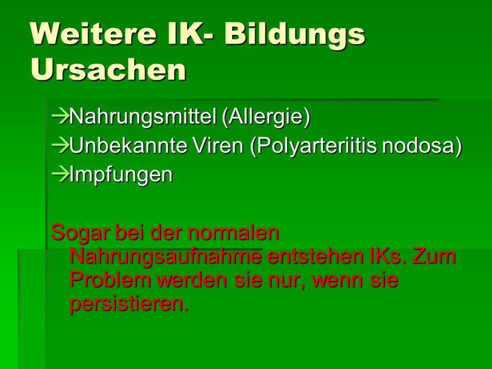 Weitere IK- Bildungs Ursachen Nahrungsmittel (Allergie) Nahrungsmittel (Allergie) Unbekannte Viren (Polyarteriitis nodosa) Unbekannte Viren (Polyarteriitis nodosa) Impfungen Impfungen Sogar bei der normalen Nahrungsaufnahme entstehen IKs.