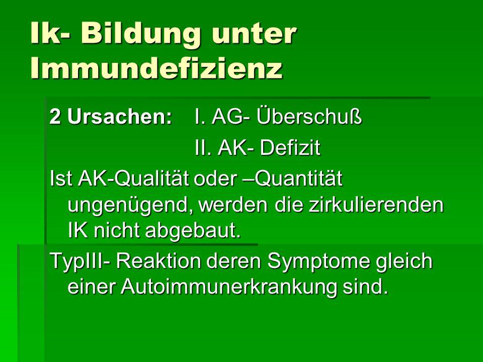Ik- Bildung unter Immundefizienz 2 Ursachen: I.AG- Überschuß II.