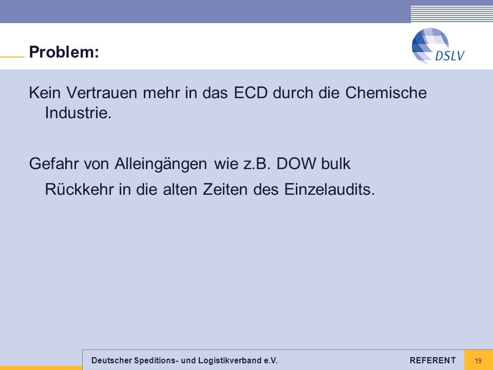 Deutscher Speditions- und Logistikverband e.V. REFERENT 19 Problem: Kein Vertrauen mehr in das ECD durch die Chemische Industrie. Gefahr von Alleingän