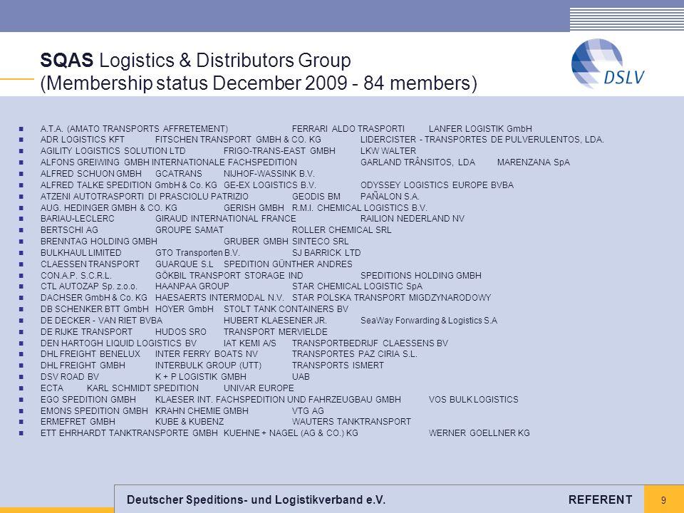 9 SQAS Logistics & Distributors Group (Membership status December 2009 - 84 members) A.T.A. (AMATO TRANSPORTS AFFRETEMENT) FERRARI ALDO TRASPORTI LANF