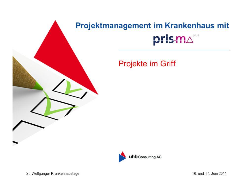 Projekte im Griff Projektmanagement im Krankenhaus mit St. Wolfganger Krankenhaustage16. und 17. Juni 2011