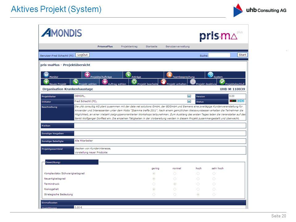 Seite 20 Aktives Projekt (System)