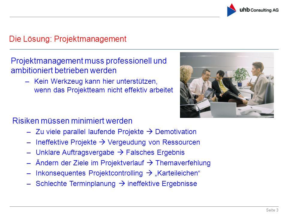 Die Lösung: Projektmanagement Seite 3 Projektmanagement muss professionell und ambitioniert betrieben werden –Kein Werkzeug kann hier unterstützen, we