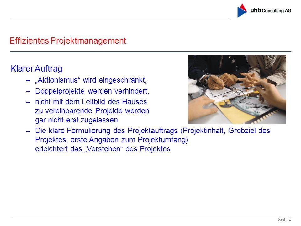 Effizientes Projektmanagement Seite 4 Klarer Auftrag –Aktionismus wird eingeschränkt, –Doppelprojekte werden verhindert, –nicht mit dem Leitbild des H