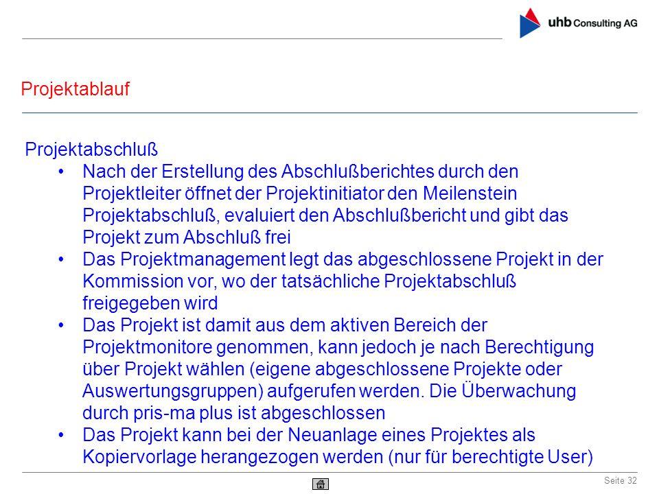 Projektablauf Seite 32 Projektabschluß Nach der Erstellung des Abschlußberichtes durch den Projektleiter öffnet der Projektinitiator den Meilenstein P