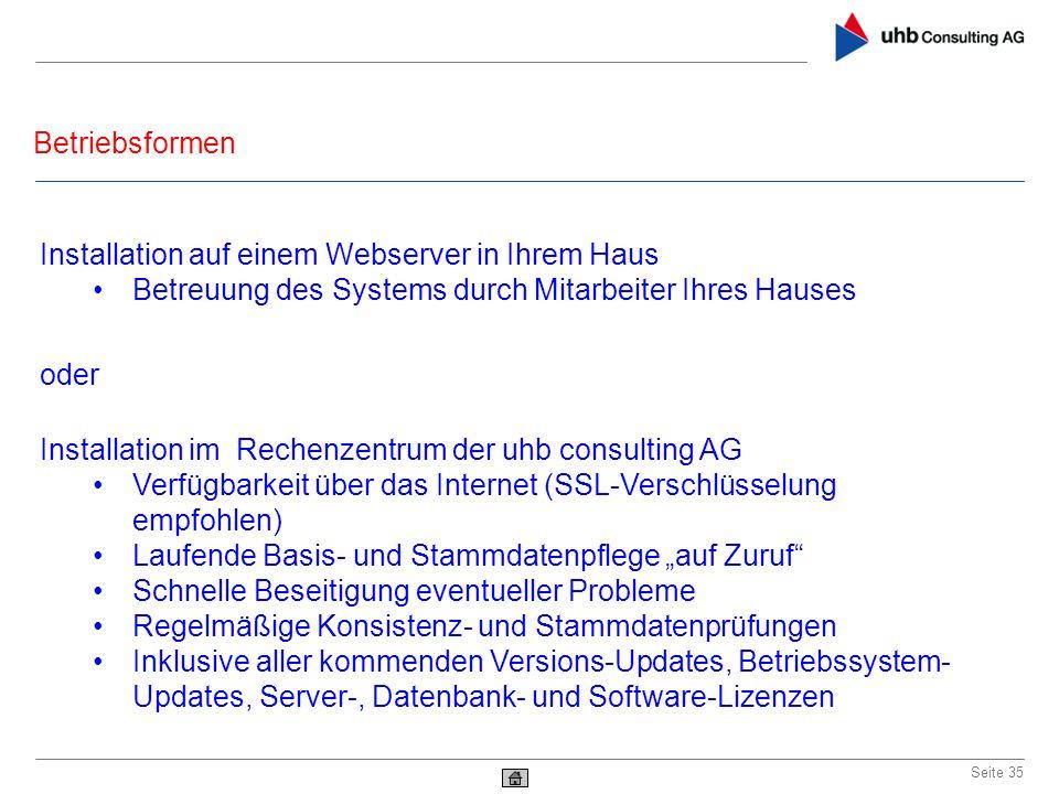 Betriebsformen Seite 35 Installation im Rechenzentrum der uhb consulting AG Verfügbarkeit über das Internet (SSL-Verschlüsselung empfohlen) Laufende B
