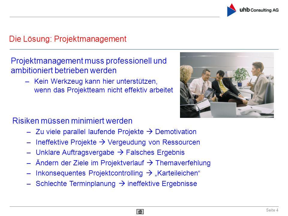Die Lösung: Projektmanagement Seite 4 Projektmanagement muss professionell und ambitioniert betrieben werden –Kein Werkzeug kann hier unterstützen, we