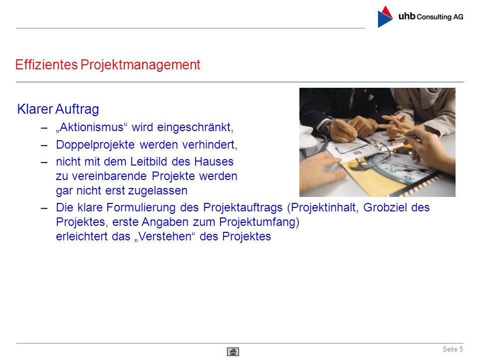 Effizientes Projektmanagement Seite 5 Klarer Auftrag –Aktionismus wird eingeschränkt, –Doppelprojekte werden verhindert, –nicht mit dem Leitbild des H