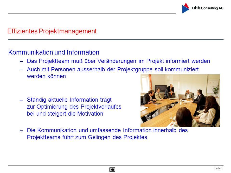 Effizientes Projektmanagement Seite 8 Kommunikation und Information –Das Projektteam muß über Veränderungen im Projekt informiert werden –Auch mit Per