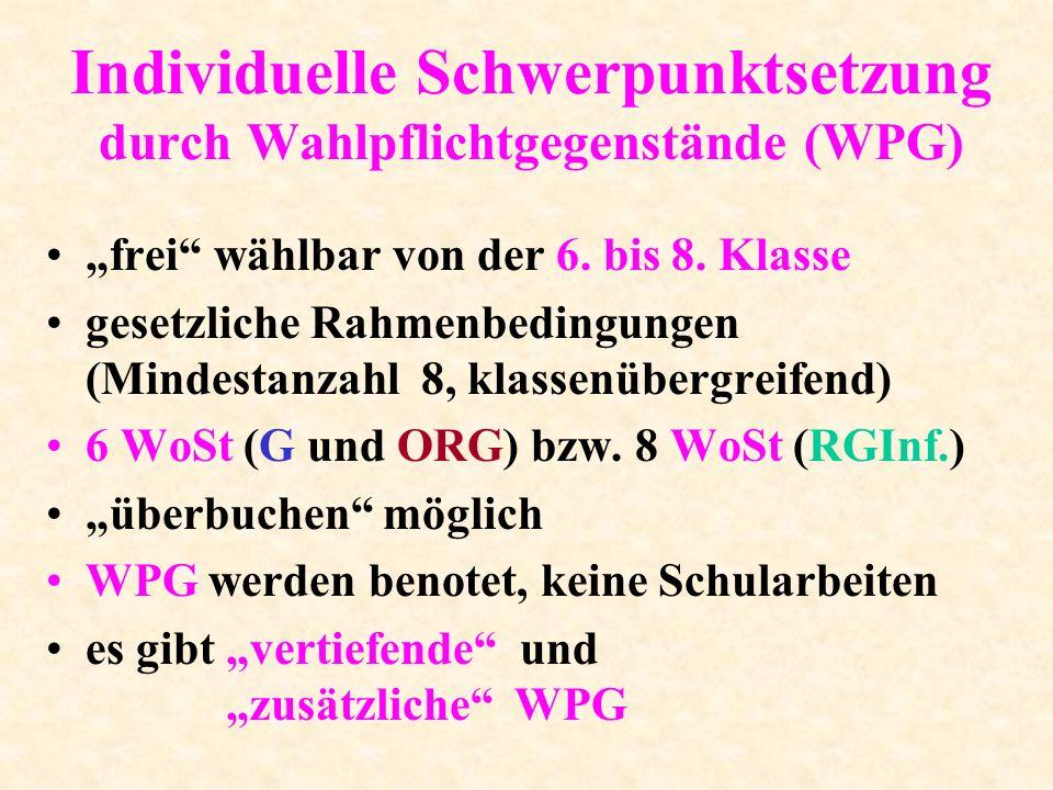 Wahlpflichtgegenstände ( WPG ) Vertiefende WPG: -bereits Pflichtgegenstand ( jeder außer LÜ ) -ein- oder zweistufig/-jährig -kein Förderkurs.