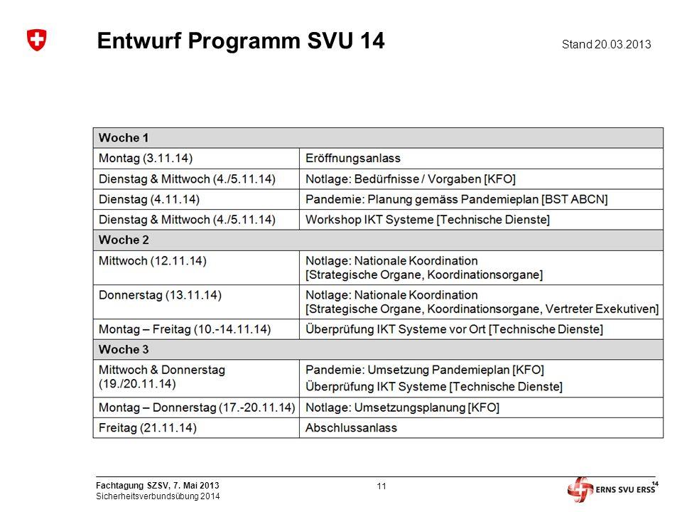 11 Fachtagung SZSV, 7. Mai 2013 Sicherheitsverbundsübung 2014 Entwurf Programm SVU 14 Stand 20.03.2013