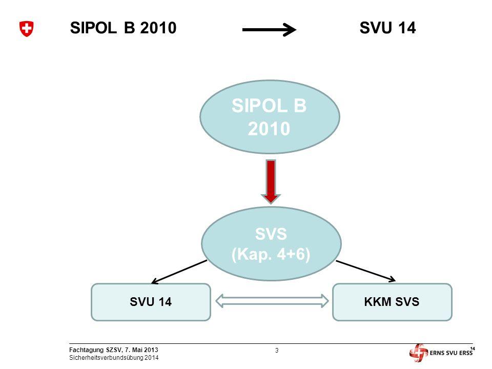3 Fachtagung SZSV, 7. Mai 2013 Sicherheitsverbundsübung 2014 SIPOL B 2010SVU 14 SIPOL B 2010 SVS (Kap. 4+6) SVU 14KKM SVS