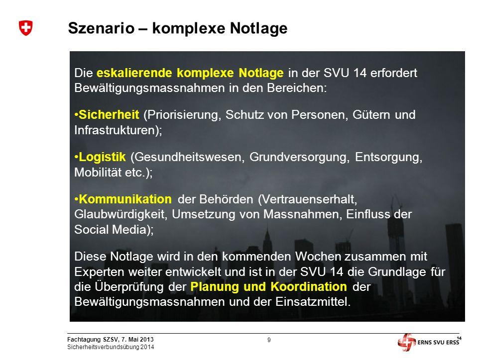 9 Fachtagung SZSV, 7. Mai 2013 Sicherheitsverbundsübung 2014 Szenario – komplexe Notlage Die eskalierende komplexe Notlage in der SVU 14 erfordert Bew