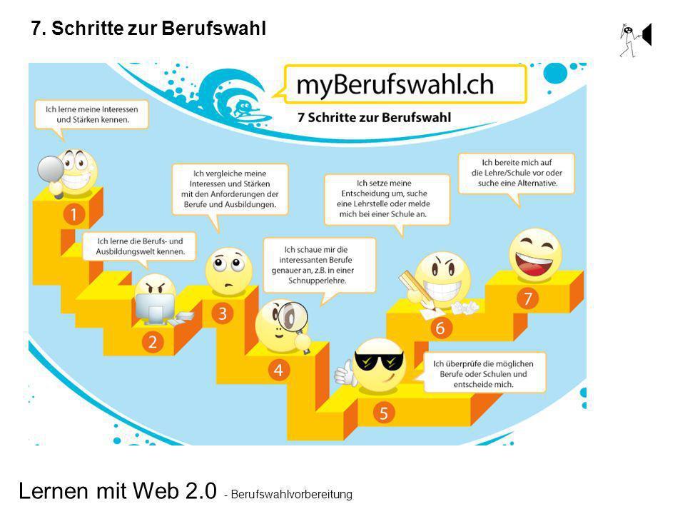 Lernen mit Web 2.0 - Berufswahlvorbereitung 7. Schritte zur Berufswahl