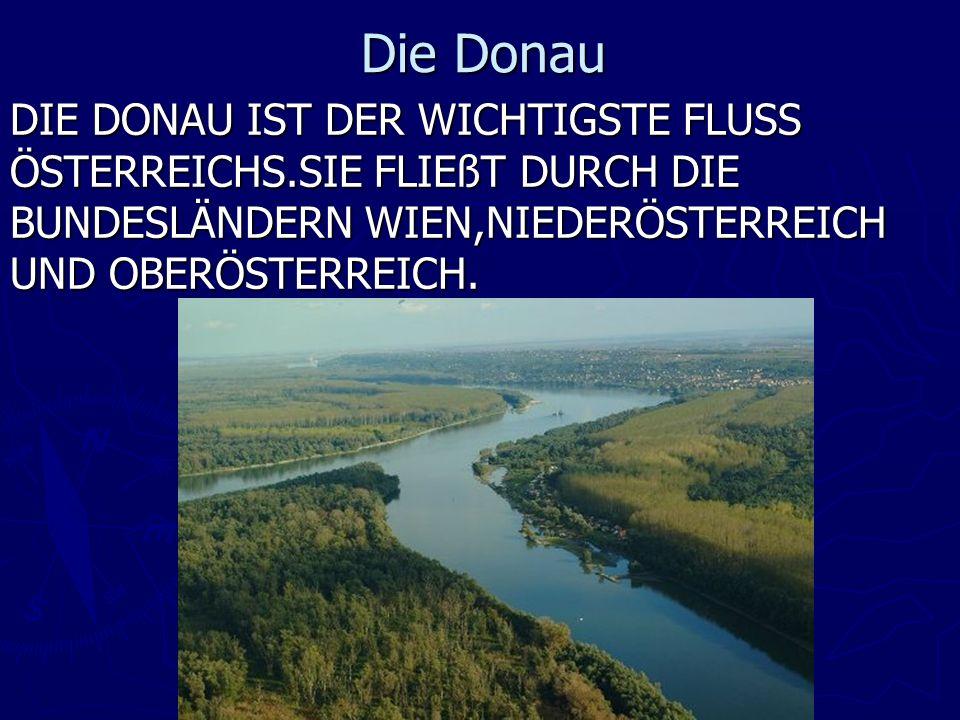 Die Donau DIE DONAU IST DER WICHTIGSTE FLUSS ÖSTERREICHS.SIE FLIEßT DURCH DIE BUNDESLÄNDERN WIEN,NIEDERÖSTERREICH UND OBERÖSTERREICH.