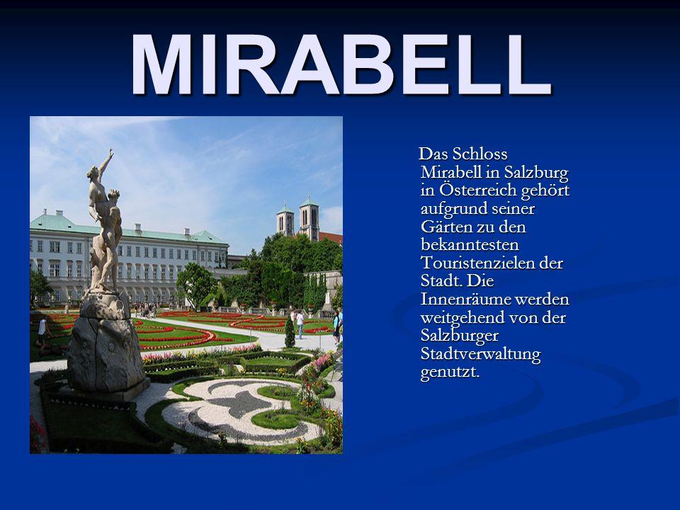 MIRABELL Das Schloss Mirabell in Salzburg in Österreich gehört aufgrund seiner Gärten zu den bekanntesten Touristenzielen der Stadt. Die Innenräume we