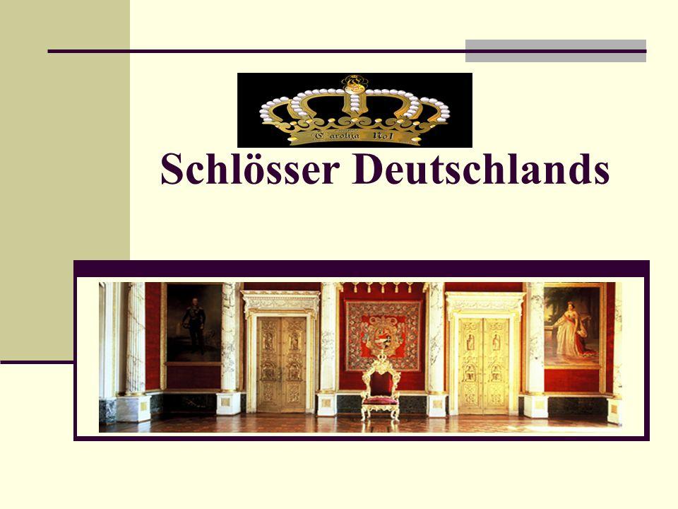 Schlösser Deutschlands Die Liste von Burgen und Schlössern in Deutschland führt, geordnet nach Bundesland, Burgen, Schlösser und Festungen auf, die sich auf dem heutigen Gebiet Deutschlands befinden.