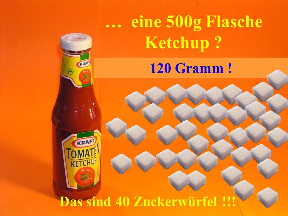 … eine 500g Flasche Ketchup ? Das sind 40 Zuckerwürfel !!! 120 Gramm !