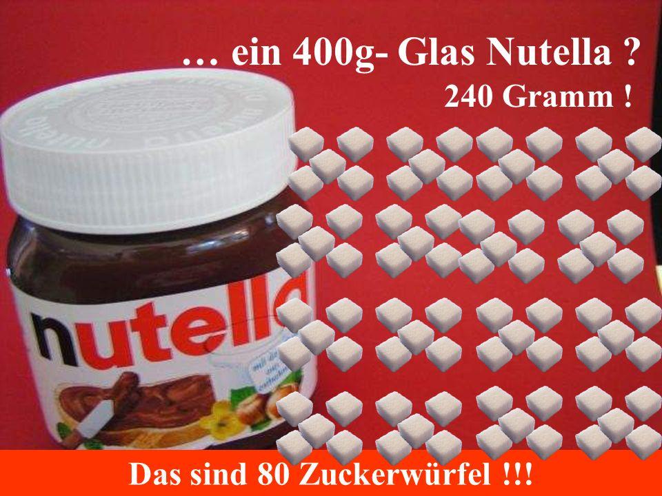 … ein 400g- Glas Nutella ? 240 Gramm ! Das sind 80 Zuckerwürfel !!!
