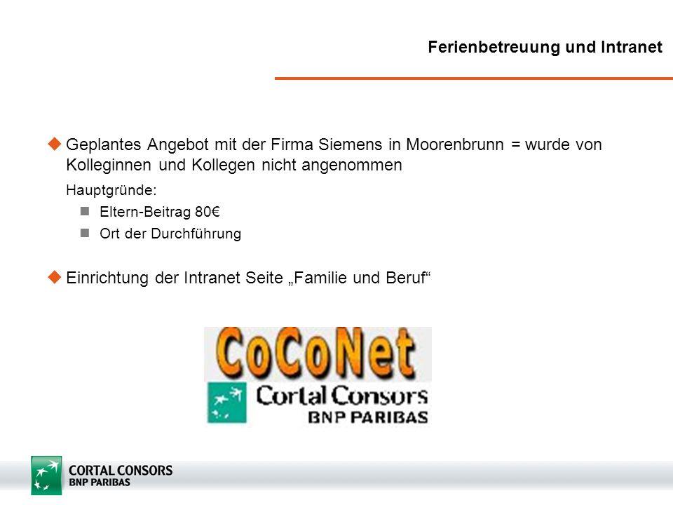 Ferienbetreuung und Intranet Geplantes Angebot mit der Firma Siemens in Moorenbrunn = wurde von Kolleginnen und Kollegen nicht angenommen Hauptgründe: