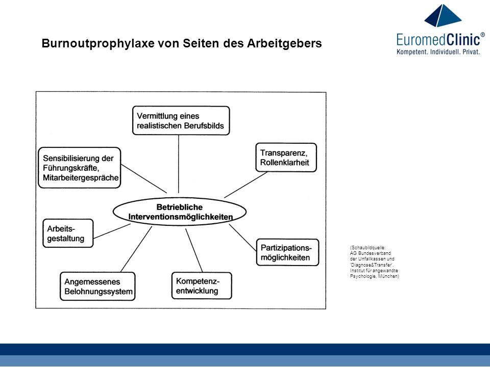 Burnoutprophylaxe von Seiten des Arbeitgebers (Schaubildquelle: AG Bundesverband der Unfallkassen und Diagnose&Transfer , Institut für angewandte Psychologie, München)