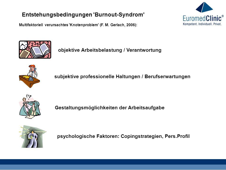 Entstehungsbedingungen 'Burnout-Syndrom' Multifaktoriell verursachtes 'Knotenproblem' (F. M. Gerlach, 2006): objektive Arbeitsbelastung / Verantwortun