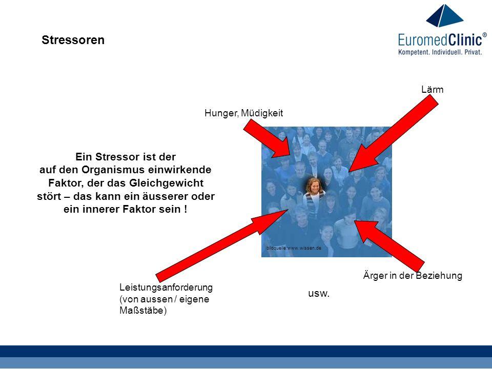Stressoren bildquelle:www.wissen.de Ein Stressor ist der auf den Organismus einwirkende Faktor, der das Gleichgewicht stört – das kann ein äusserer oder ein innerer Faktor sein .