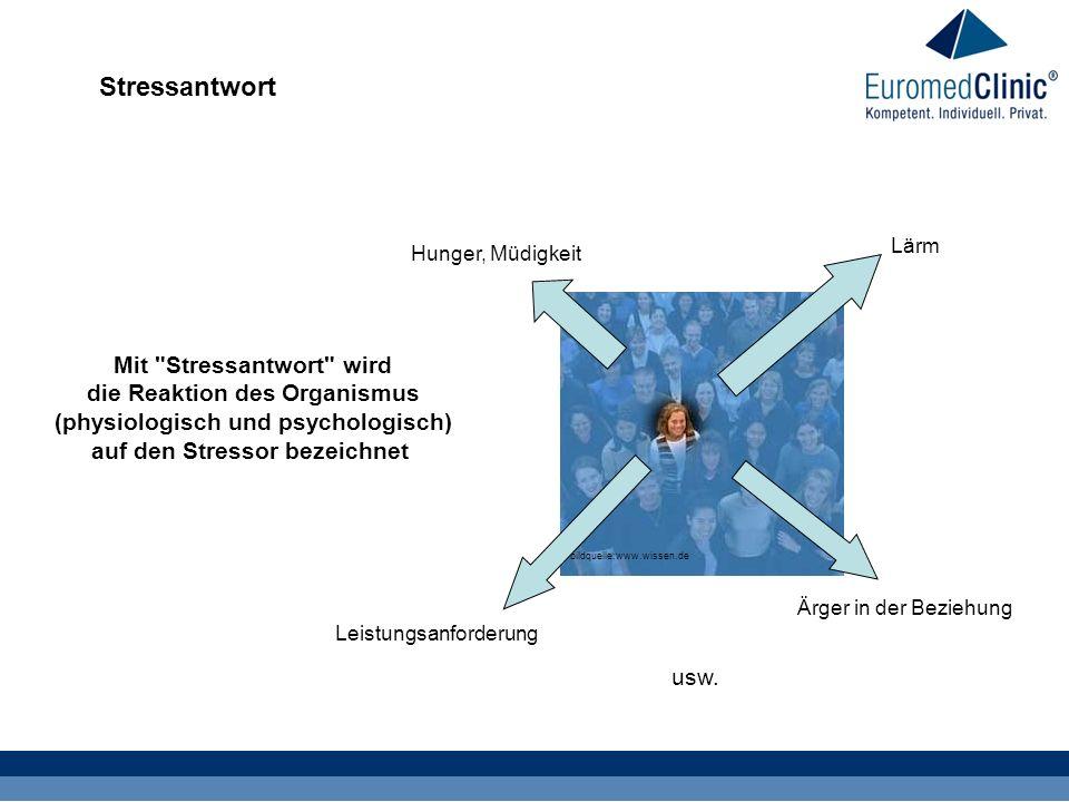 Stressantwort bildquelle:www.wissen.de Hunger, Müdigkeit Leistungsanforderung Ärger in der Beziehung Lärm usw. Mit