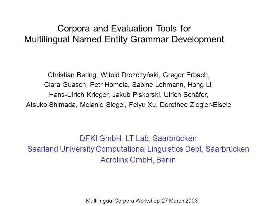 Multilingual Corpora Workshop, 27 March 2003 Corpora and Evaluation Tools for Multilingual Named Entity Grammar Development Christian Bering, Witold Drożdżyński, Gregor Erbach, Clara Guasch, Petr Homola, Sabine Lehmann, Hong Li, Hans-Ulrich Krieger, Jakub Piskorski, Ulrich Schäfer, Atsuko Shimada, Melanie Siegel, Feiyu Xu, Dorothee Ziegler-Eisele DFKI GmbH, LT Lab, Saarbrücken Saarland University Computational Linguistics Dept, Saarbrücken Acrolinx GmbH, Berlin