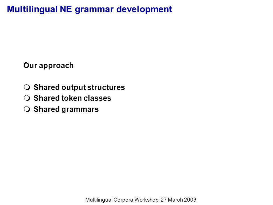 Multilingual Corpora Workshop, 27 March 2003 Shared Output Structures The grammars for all six languages produce the same, semantically oriented output structures, defined in TDL ne_type := sign & [DESCRIPTOR string].