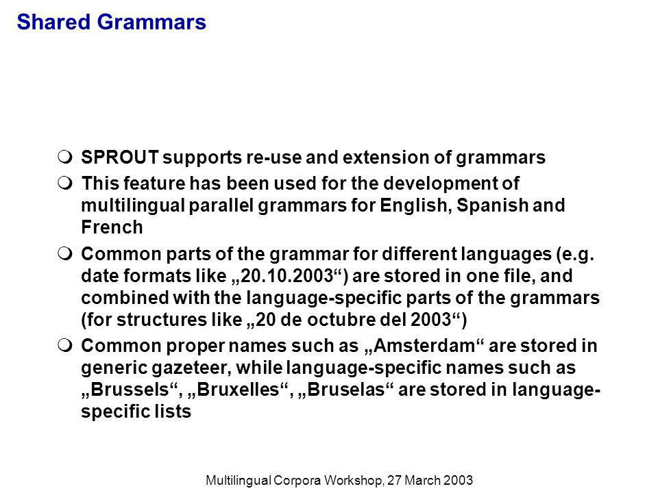 Multilingual Corpora Workshop, 27 March 2003 Shared Grammars SPROUT supports re-use and extension of grammars This feature has been used for the development of multilingual parallel grammars for English, Spanish and French Common parts of the grammar for different languages (e.g.