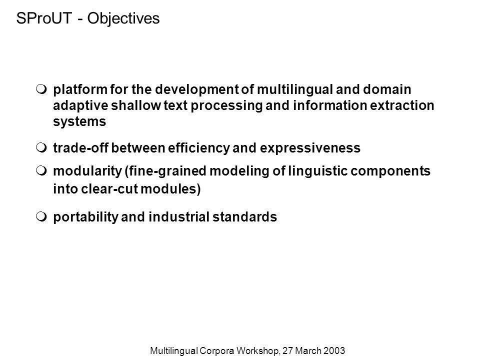 Multilingual Corpora Workshop, 27 March 2003 SProUT - Objectives platform for the development of multilingual and domain adaptive shallow text processing and information extraction systems trade-off between efficiency and expressiveness modularity (fine-grained modeling of linguistic components into clear-cut modules) portability and industrial standards