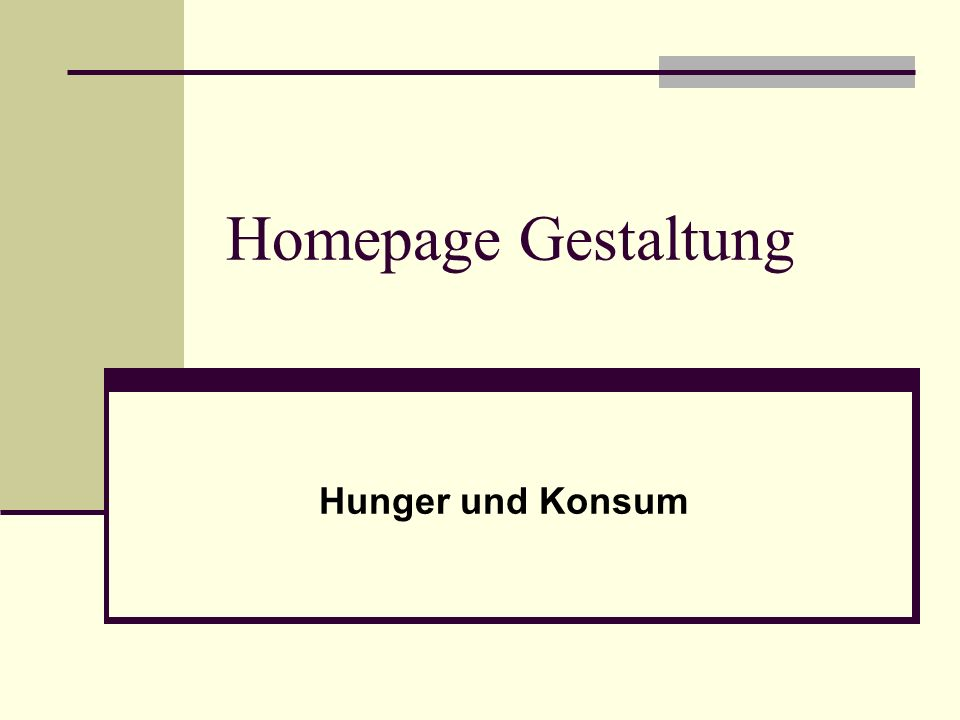 Homepage Gestaltung Hunger und Konsum
