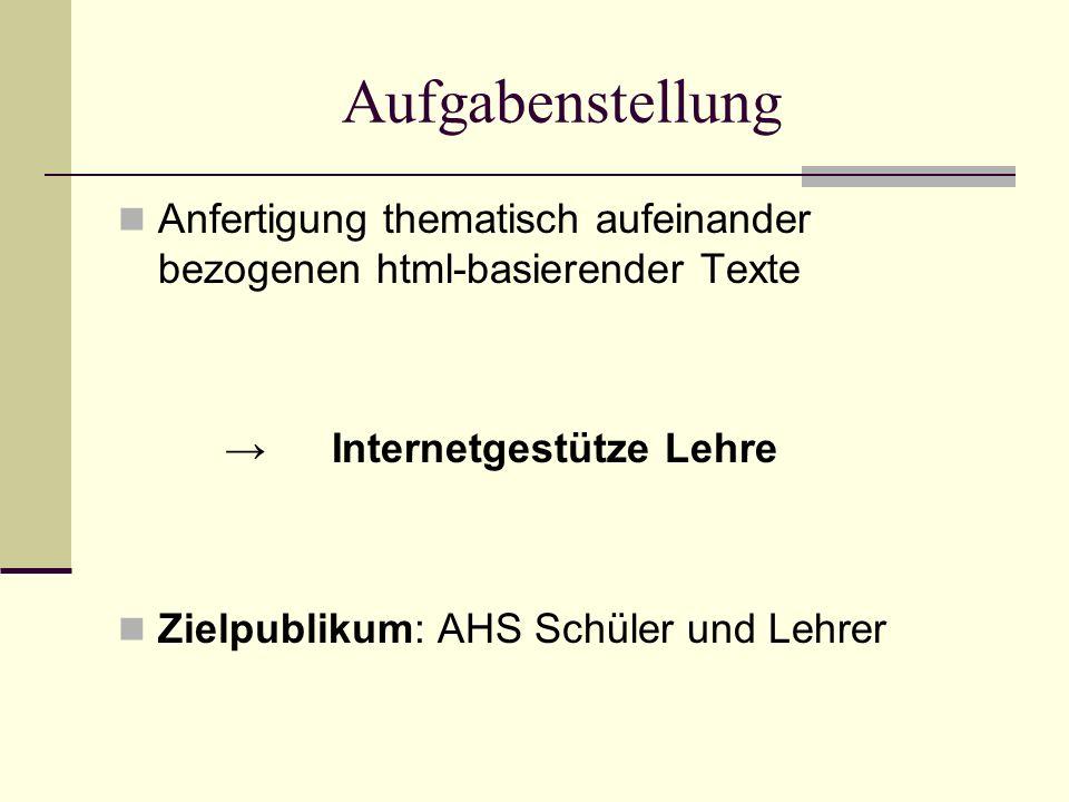 Aufgabenstellung Anfertigung thematisch aufeinander bezogenen html-basierender Texte Internetgestütze Lehre Zielpublikum: AHS Schüler und Lehrer